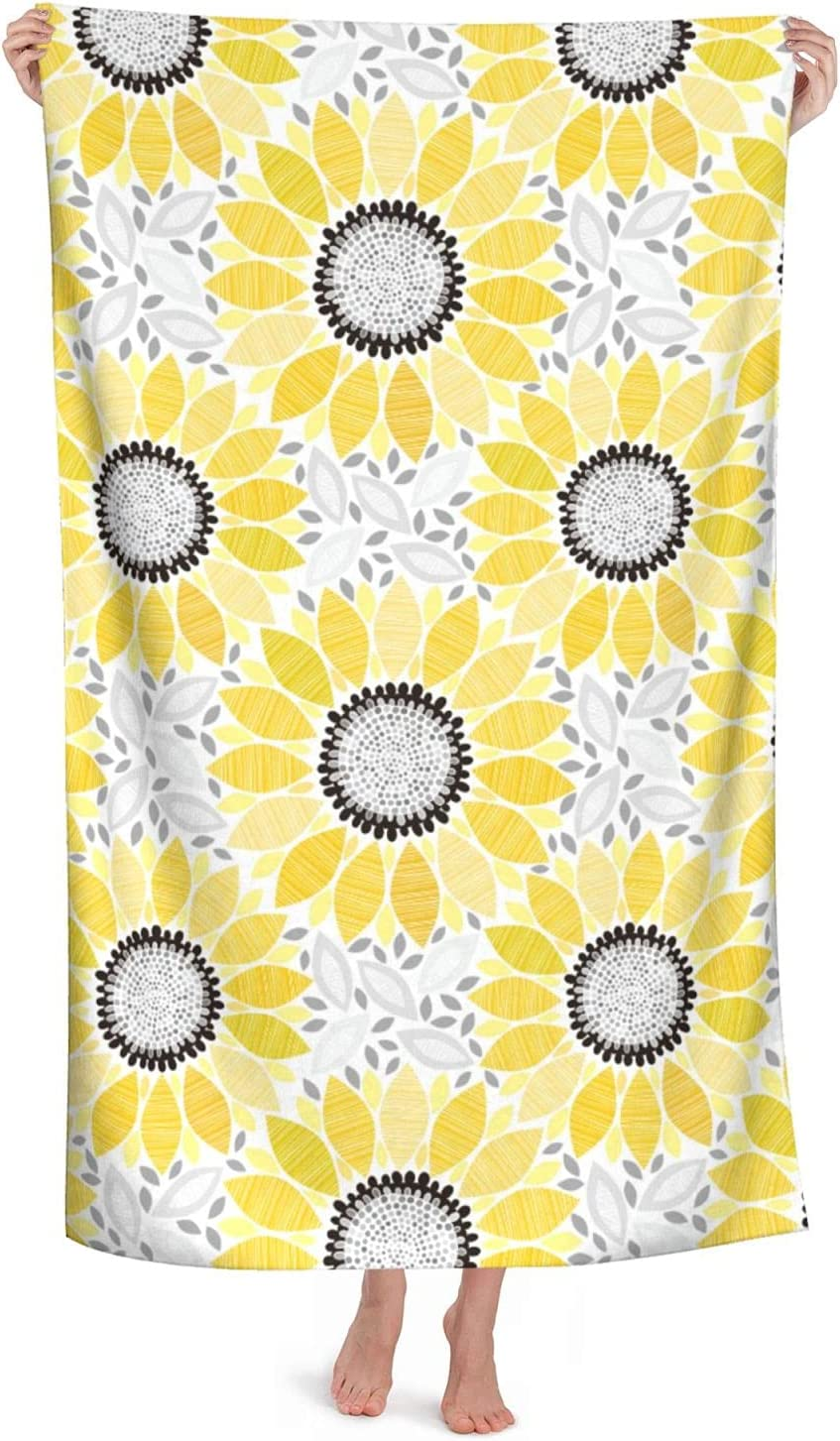 Sunflower Bath Towel OFFicial mail order Yellow Flower Towels Columbus Mall Soft Abso Floral Beach