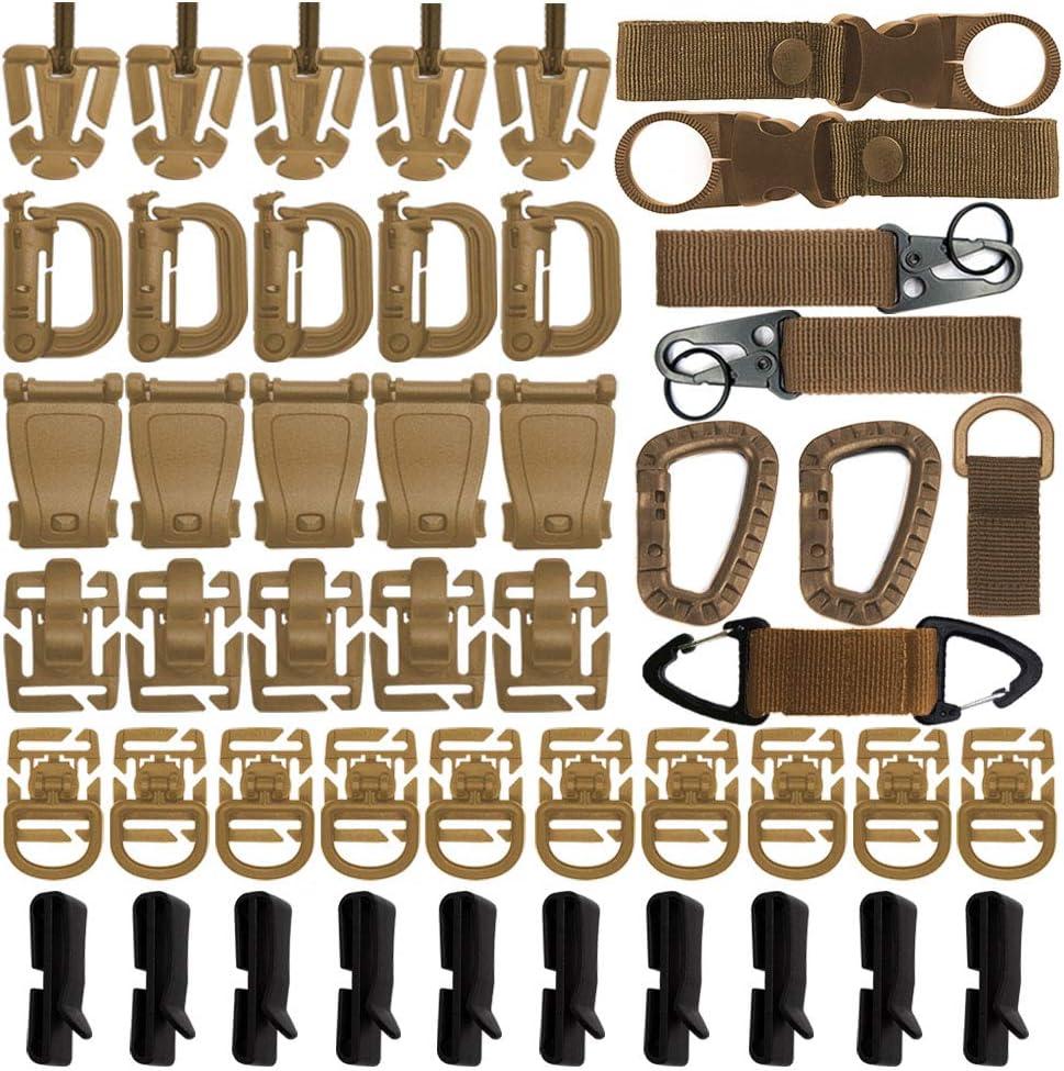 48PCS Tactical Gear Clip Set Accesorios De Correas Molle Para Mochila Táctica Bolsa Chaleco Cinturón Soporte Llavero De Nailon, Anillo En D Gancho Para Colgar Con Bloqueo Botella De Agua Clip (marrón)