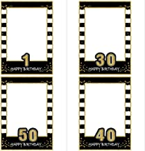 SWYOUN Glitter Happy Birthday Party Frame Photo Prop Birthday DIY Picture For All Ages
