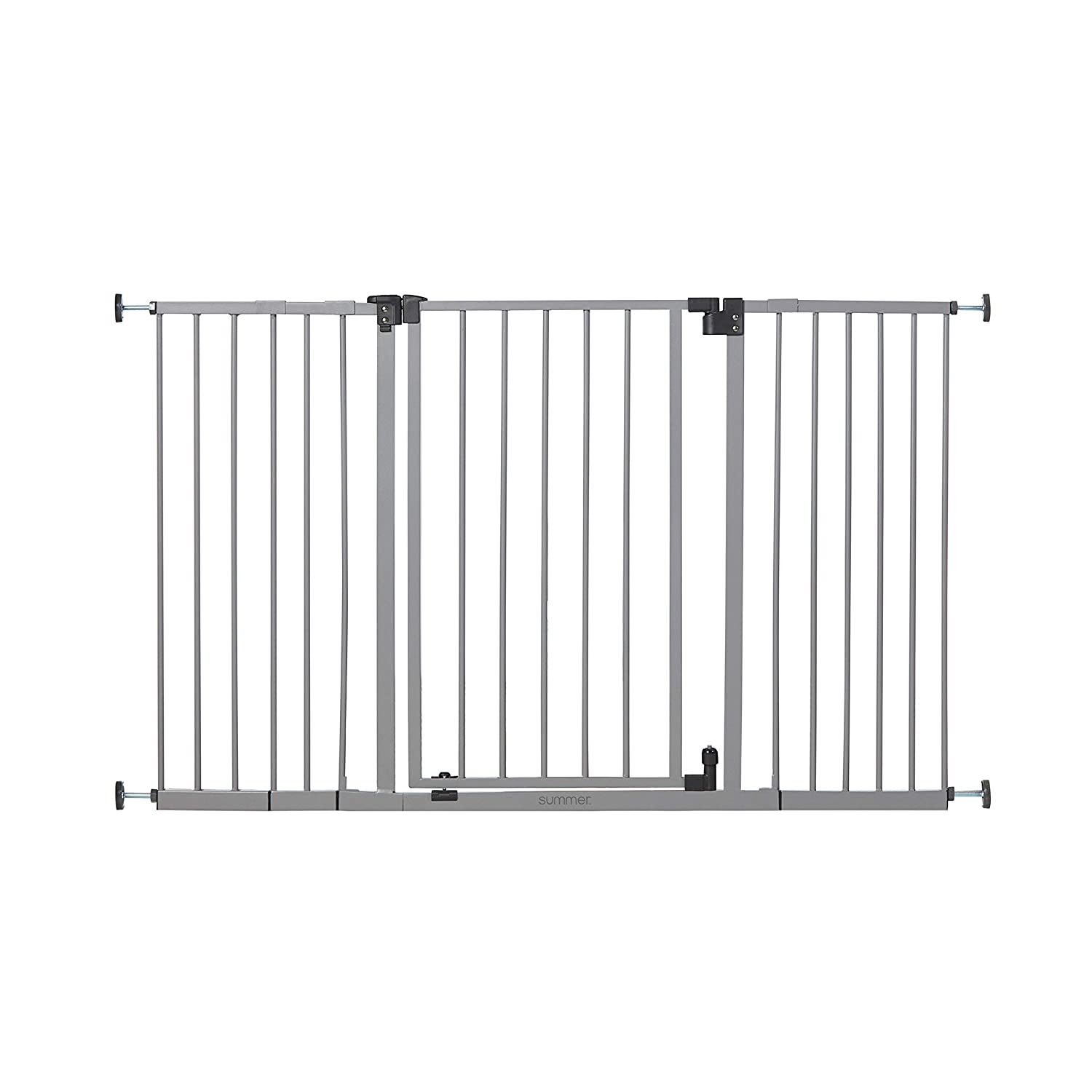 Summer Infant Secure Space Extra-Wide Safety Gate, 28.5 - 52 Inch Wide, for Doorways & Stairways, Auto-Close & Hold-Open, Grey, Slate