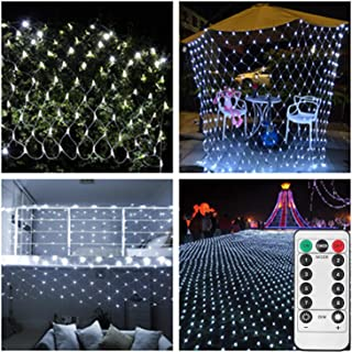 Battery Led Net Mesh Lights,9.8ft x 6.6ft,200 LED,Decorative String Lights for RV Campfire BBQ Music Festival Welcome Tree[Remote,8 Mode,Timer,Dimmable,Need 3 X Type D Battery(Not Included)]-White