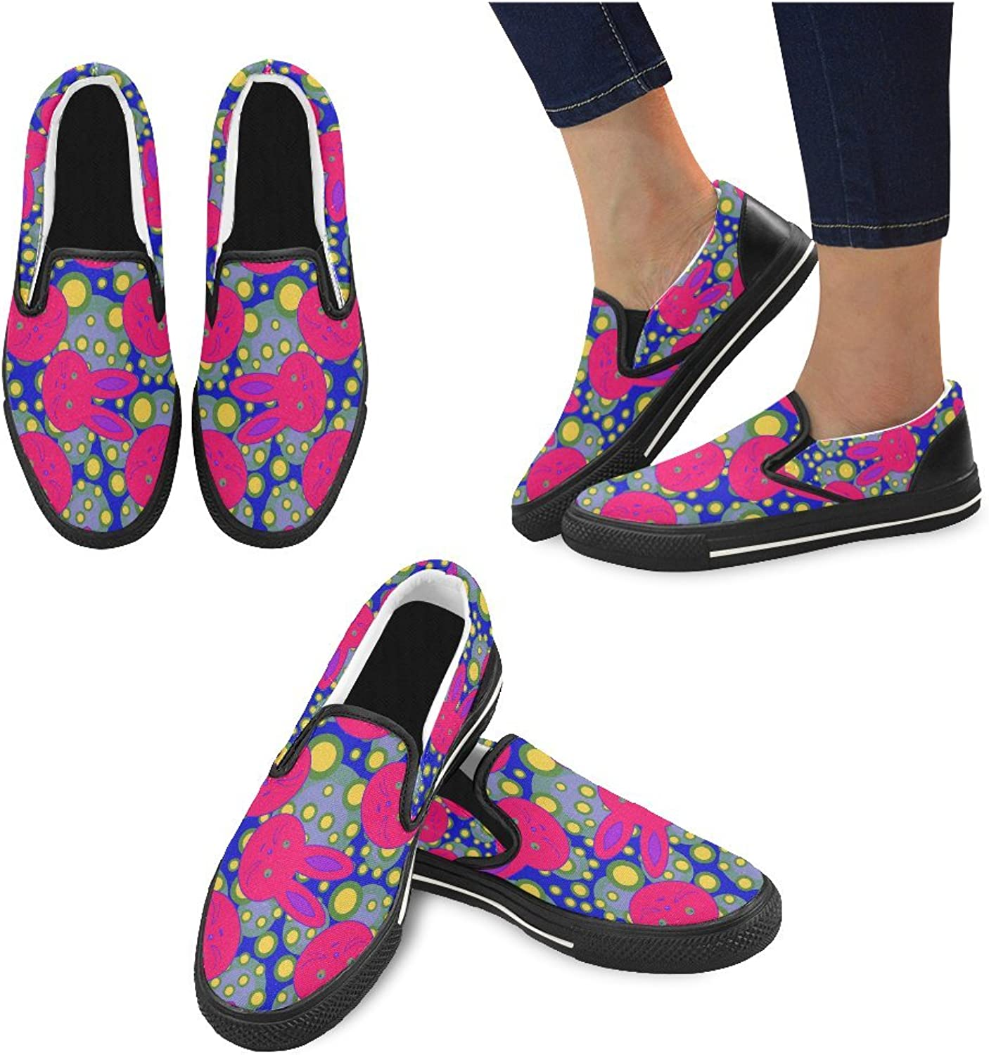InterestPrint Women's shoes Slip On Casual Canvas Fashion shoes Sneaker Day of The Dead