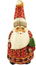 World Faith 7 Inch Tall Hand Carved Russian Santa Claus Russian Father Frost with Christmas Tree