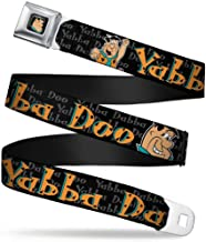 Buckle-Down Seatbelt Belt - Fred Face/Pose YABBA DABBA DOO Black/Gray/Orange - 1.5