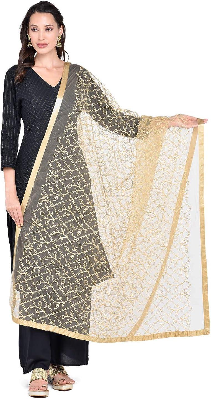 Dupatta Bazaar Women's Gold Embellished Net Dupatta