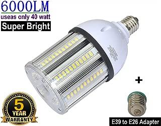 40W LED Bulbs 6000Lumen 3000k Soft White E26 Medium Base LED Corn Light Bulb Equivalent 175W to 250W Metal Halide Bulb HID HPS Bulb for Indoor Outdoor Garage Workshop Warehouse Backyard