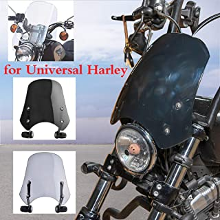 AHOLAA Motorrad Windschutzscheibe Windschutz Windschutzscheibe für Harley Dyna Softail Fat Bob FXDF Wide Glide FXDWG FXDB Street Bob 2006 2019 (Rauch)