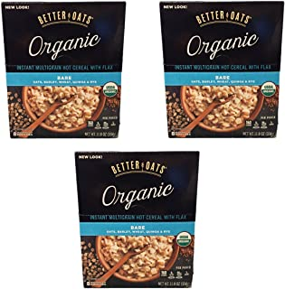 Better Oats Organic Multigrain Bare Instant Oatmeal with Flax Oats, Barley, Wheat, Quinoa and Rye - 3 Pack with 8 Measurin...