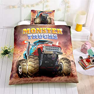 Helehome Monster Truck Duvet Cover Set Boys Hobby Sports Bedding Set with Flame Exotic Automobile Style Image Decorative 2 Piece Bedding Set with 1 Pillow Shams,Twin Size