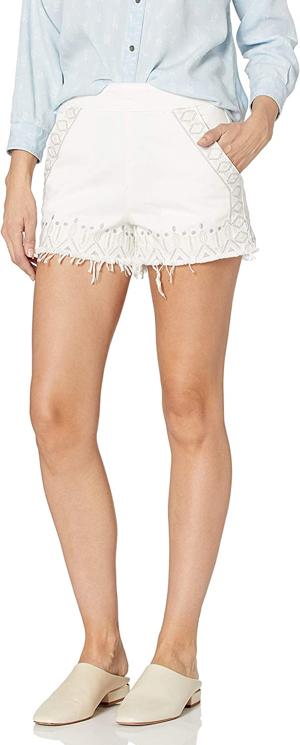 Cheap mail order sales BLANKNYC Women's Embroidered High Rise Short In Flake Snow service