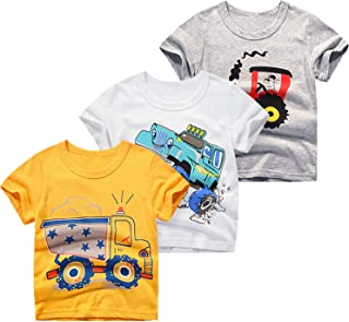 JUNOAI Toddler Boys Clothes 3-Pack Short Sleeve Crewneck T-Shirts Top Tee Size for 2-6 Years