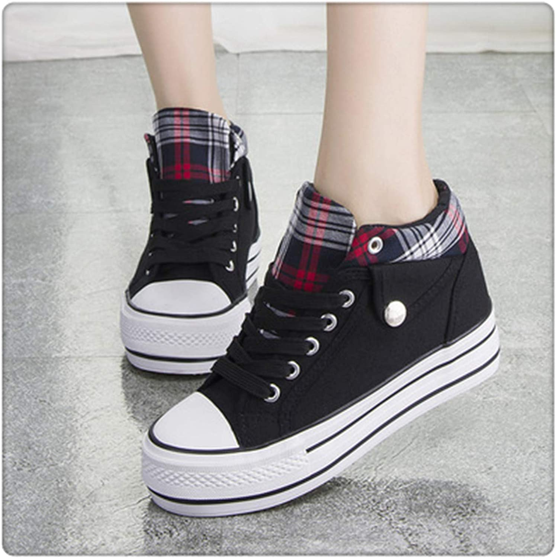 Woman Wedge Platform Sneakers Canvas shoes 2019 Lace Up Breathable Women Sneakers Hidden Heel Girls Denim shoes Black 5