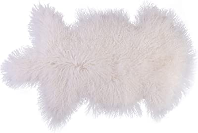 DEERLUX QI003480W Mongolian Lamb Fur Sheepskin Rug Natural Single Pelt, White