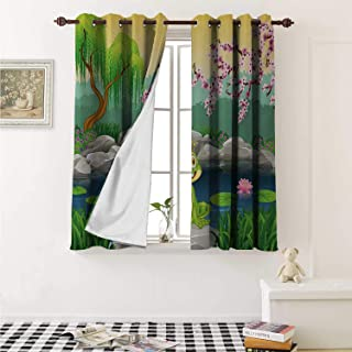 shenglv King Waterproof Window Curtain Fairytale Inspired Cute Little Frog Prince Near Lake on Moss Rock with Flowers Image Curtains Living Room W55 x L45 Inch Multicolor