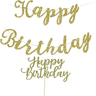 Happy Birthday Banner, Gold Birthday Decorations Party, Happy Birthday Cake Topper Glitter Gold
