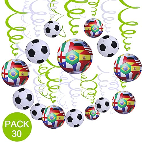 Supla 30 Pcs Soccer Hanging Swirl Decorations For Ceiling 2018 Game Football Theme Sports Themed