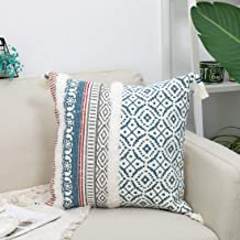 Boho Decorative Sofa Throw Pillow Covers - Modern Tassels Pillow Cases with White Fluffy Plush Decor, Cushion Cover for Couch Bedroom Car Hotel, 18x18 Inches, Blue