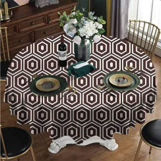 PINAFORE-HOME Round Tablecloth, Outline Diamond Shape Modern Elegant Polyester Fabric Table Cloth Cover for Kitchen Tables and Outdoor Use. Diameter - 31 Inch