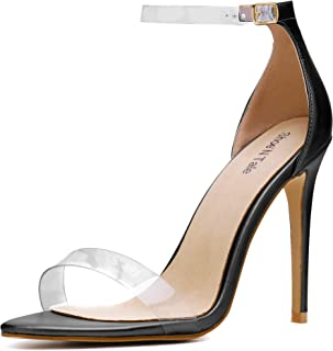 Women's Lucite Clear Ankle Strap High Heel Sandals