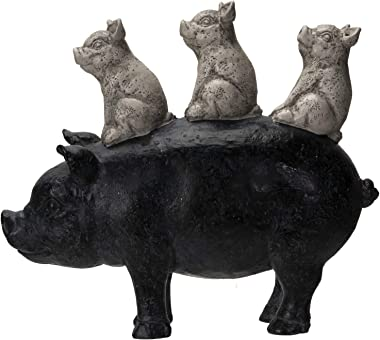 Pacific Giftware Animal Farm Barnyard Stacked Piglets on Pig Resin Figurine Statue