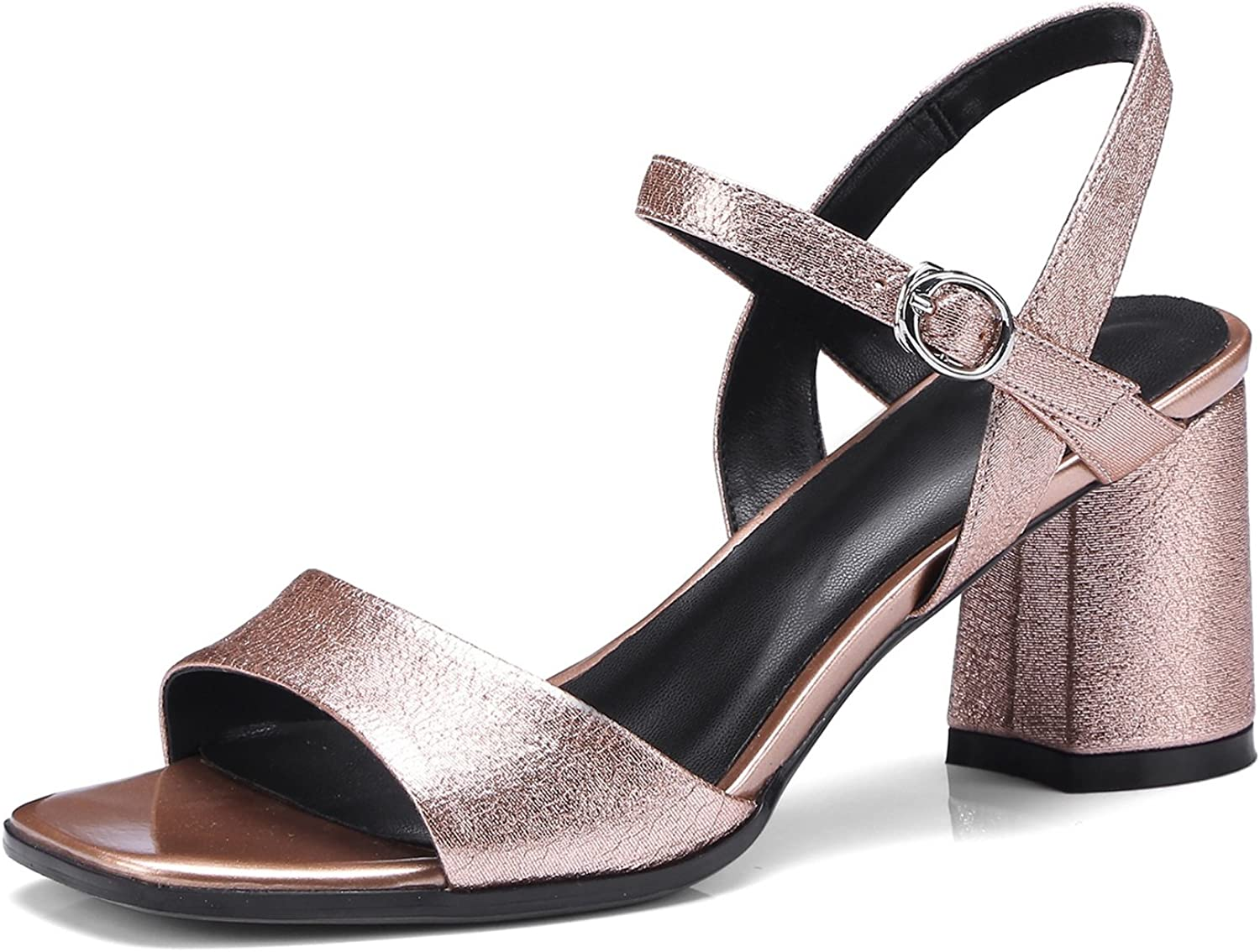 Women's shoes Leather 2018 Spring Summer Club shoes Sandals Chunky Heel Open Toe Metal for Dress