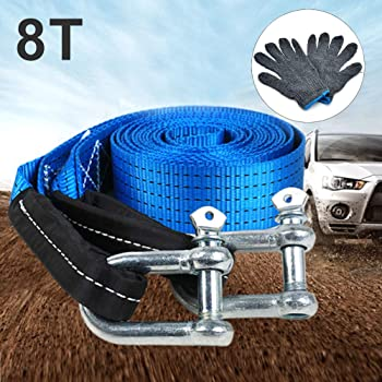 5M 3//5 Meters Car Trailer Tow Rope Road Recovery Towing Cable U-Shape Heavy Duty Tow Strap with Reflective Strip Hooks 8 Tons
