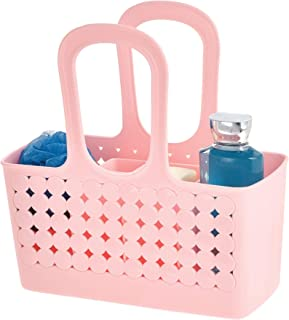 iDesign Orbz Plastic Bathroom Shower Tote Small Divided College Dorm Shower Caddy for Shampoo, Conditioner, Soap, Cosmetics, Beauty Products - Blush