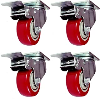 Online Best Service 4 Pack Caster Wheels Swivel Plate with Brake On Red Polyurethane..
