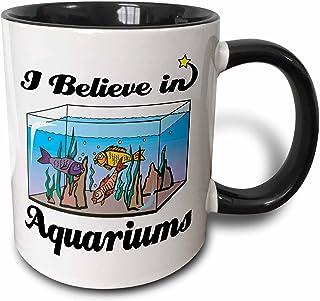 3dRose I Believe In Aquariums Two Tone Mug, 11 oz, Black/White