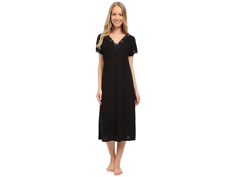 Natori Zen Floral Nightgown (Black) Women