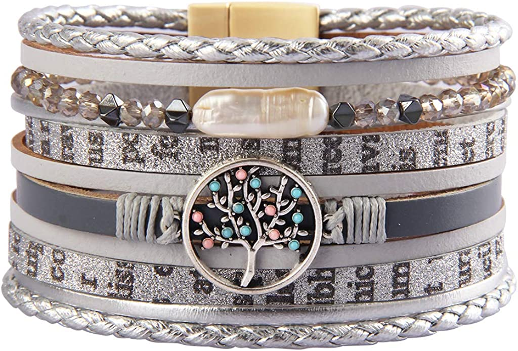 GelConnie Tree of Life Leather Cuff Bracelet Magnetic Multi Strand Wrap Bracelet Bohemian Jewelry for Women, Wife, Sister