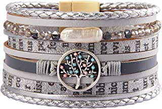 Jenia Tree of Life Leather Cuff Bracelet Handmade Wristband Gorgeous Wrap Bracelet with Magnetic Buckle Bohemian Bangle Jewelry for Women, Teen Girl, Sister, Daughter
