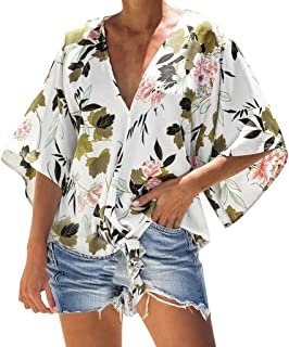 Floral Tie Knot Tops,👍ONLYTOP👍 Women's Button Down Shirts V Neck Shirt Tank Top Loose Casual Button Down Blouse