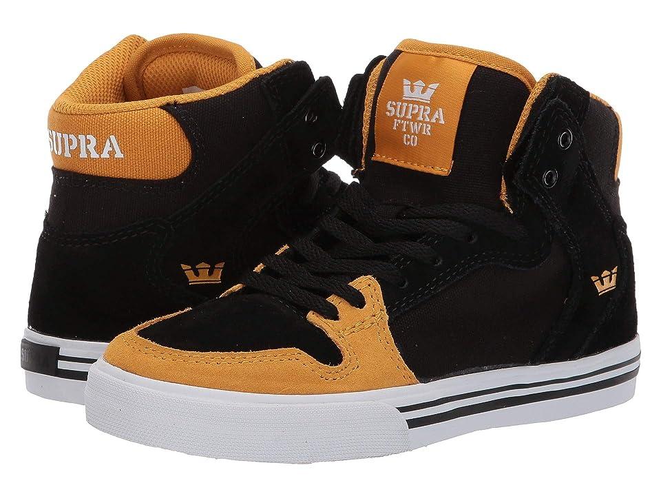 Supra Kids Vaider (Little Kid/Big Kid) (Black/Golden/White) Boys Shoes