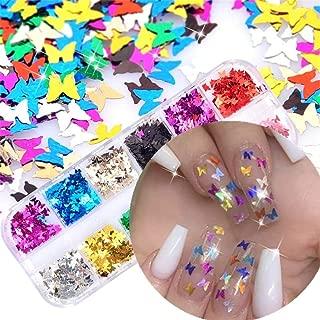 minicart 12Grids/Set Flakes Nail Glitter Sequins 3D Butterfly Luminous DIY Art Manicure Decor Nail Decoration Holographic