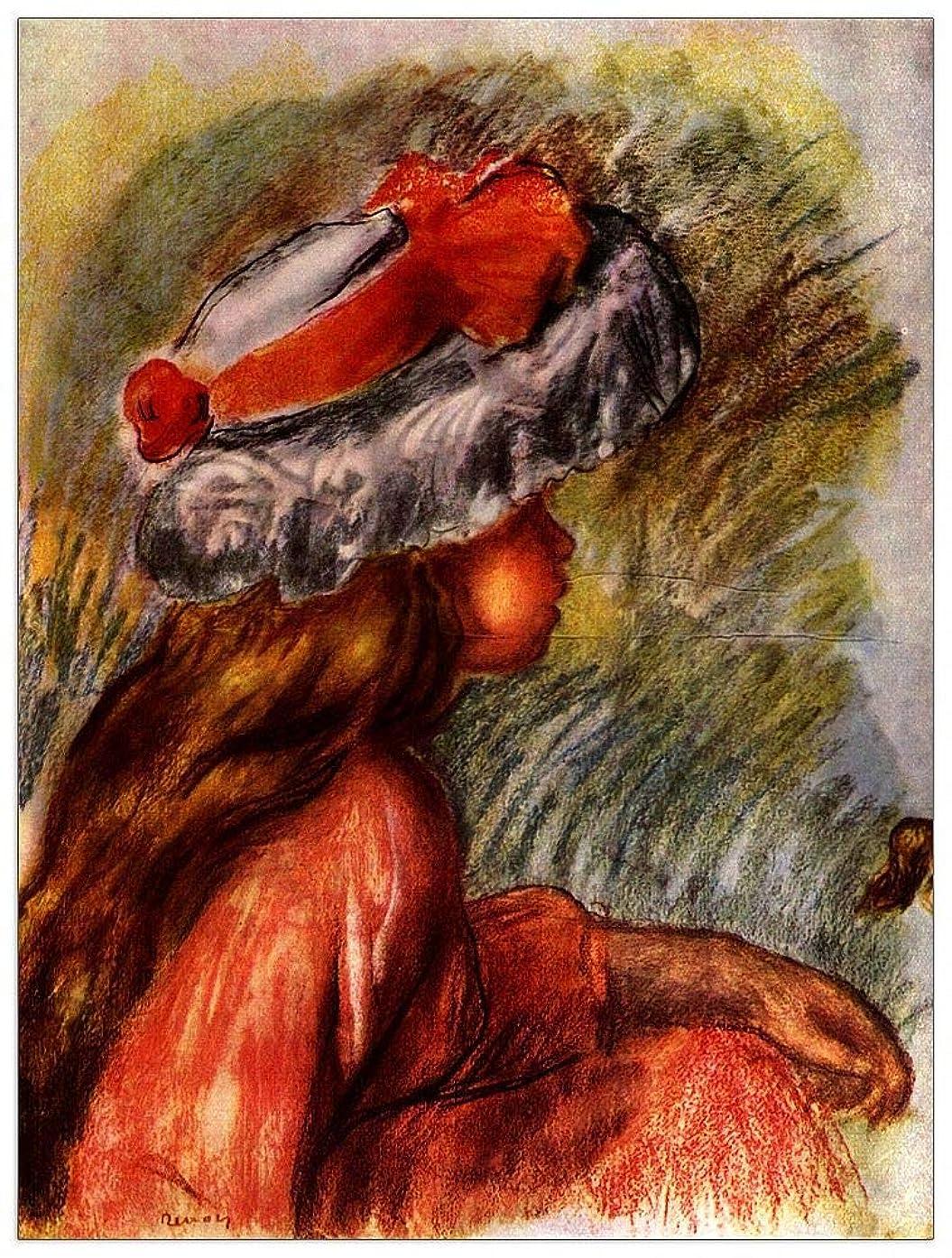ArtPlaza TW92736 Renoir Pierre-Auguste - Girl Head Decorative Panel 27.5x35.5 Inch Multicolored