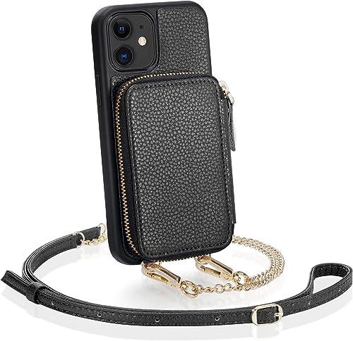 ZVE iPhone 11 Wallet Case iPhone 11 Case with Credit Card Holder Crossbody Chain Handbag Purse Wrist Strap Zipper Lea...