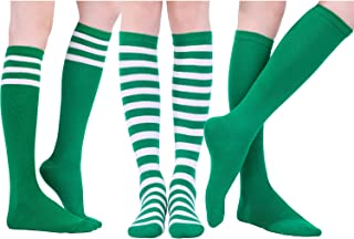 3 Pairs Long Striped Socks Knee High Stocking for Halloween Cosplay Party Costumes