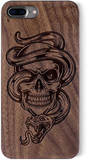iPhone 7 PLUS Case, Real Wood Non Slip Soft Wood Slim Bumper, Scratch Resistant Grip Ultra Light PC Snap Back Cover with Rubber Corner for Apple iPhone 7 PLUS(5.5 Inch)(Walnut-Skull and snake)