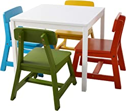 Lipper International Child's Square Table and 4 Chair Set, Multi-Color