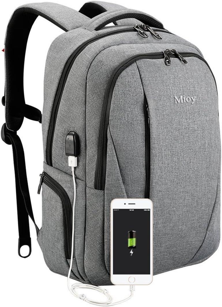 Mioy Herren Gro/ß Kapazit/ät Anti Diebstahl Rucksack 15.6 Zoll Laptop Backpack Oxford Tuch dauerhaft Bussiness Reisetasche Wasserabweisend Stylishe Daypack mit USB-Ladeschnittstelle Schwarz