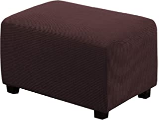 Best Oversized Storage Ottoman Covers Slipcover Furniture Protector Stretch Sofa Shield Ottoman Slipcover for Ottoman Jacquard Universal Ottoman Cover Easy Fitted(Ottoman X-Large, Chocolate) Review