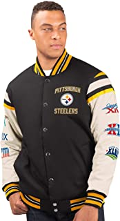 G-III Sports Pittsburgh Steelers Men's 6 Time Super Bowl Champions Victory Formation Varsity Jacket