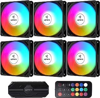 upHere Ventilateur PC 120mm télécommande RGB LED pour Boîtier PC D'ordinateur Ultra Silencieux, 6 Pack