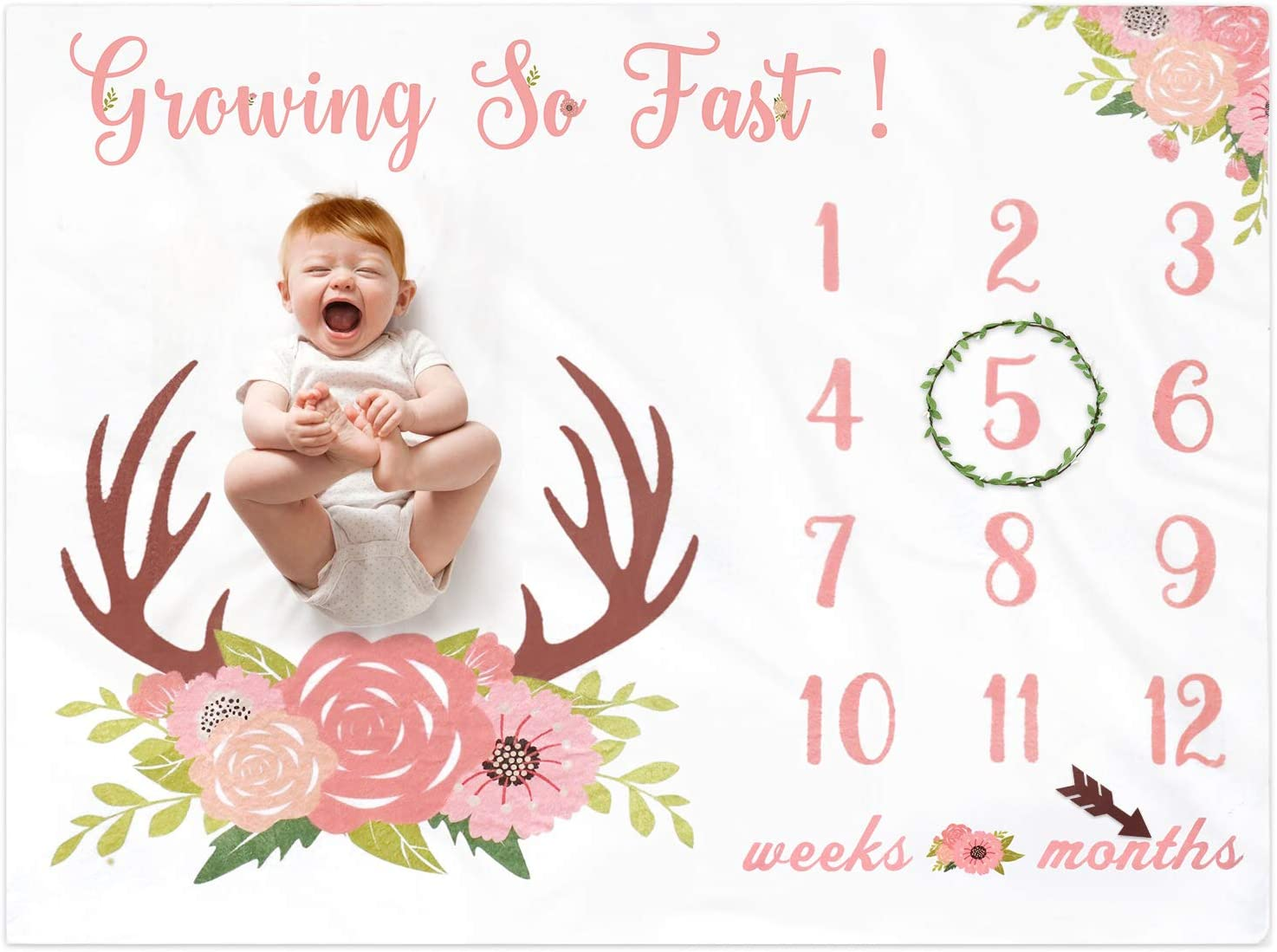 Baby Monthly Milestone Blanket for Girls Fleece Blankets Floral Deer Antler for Baby Pictures Watch Me Grow Photography Background Weeks Months with Props for Newborn Infants Shower Gift