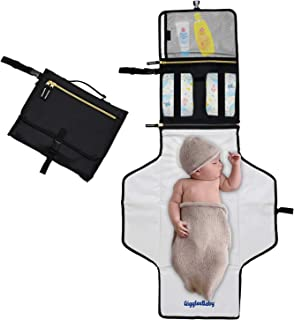 GiggleeBaby Baby Diaper Changing Pad Portable Mat, 44 x 22 Inches XL, Travel Diaper Changing Pad Clutch - Best Baby Shower Gifts- Waterproof,Fold up, Compact Infant/Toddler Car Travel Accessory, Black