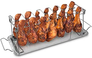 Navaris Stainless Steel Chicken Leg & Wing Rack - 14 Slot Roaster Stand for Chicken Legs, Wings, Drumstick with Drip Tray ...