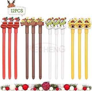 RECHENG Cute Christmas suit Cartoon Gel Ink Pens,Stationery Office Supplies,Birthday Gift for Kids,Animal Cartoon Gel Pens,Ballpoint Rollerball Pens,12Pcs Set