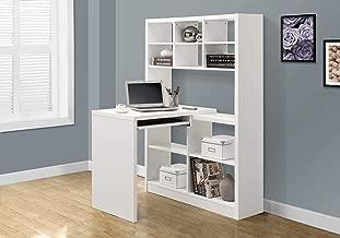 Monarch Specialties 7022 Storage-Bookcase Left Or Right Set Up-Corner Desk with Multiple Adjustable Shelves, 60
