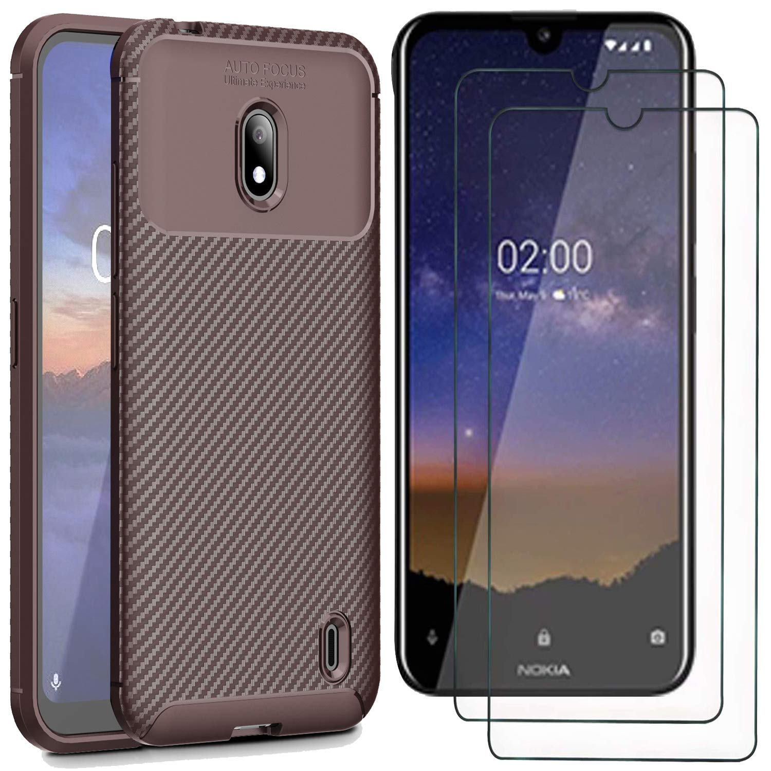 9H Tempered Glass Screen Protector for Nokia 1 Smartphone 2 in 1 Anti-Scratch Navy Nokia 1 Case with Screen Protector, MYLBOO Soft Slim Flex TPU Silicone Phone Case